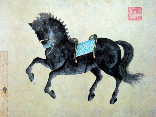 Black Horse with Turquoise Saddle