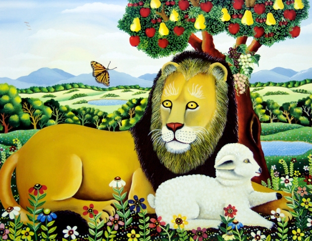 Lion & Lamb with Butterflies